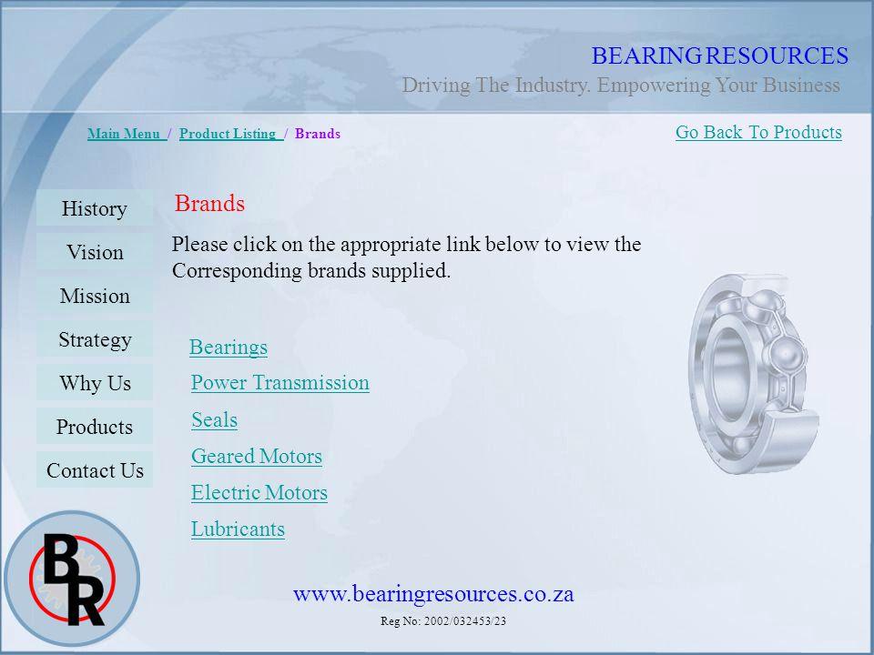BEARING RESOURCES Brands www.bearingresources.co.za