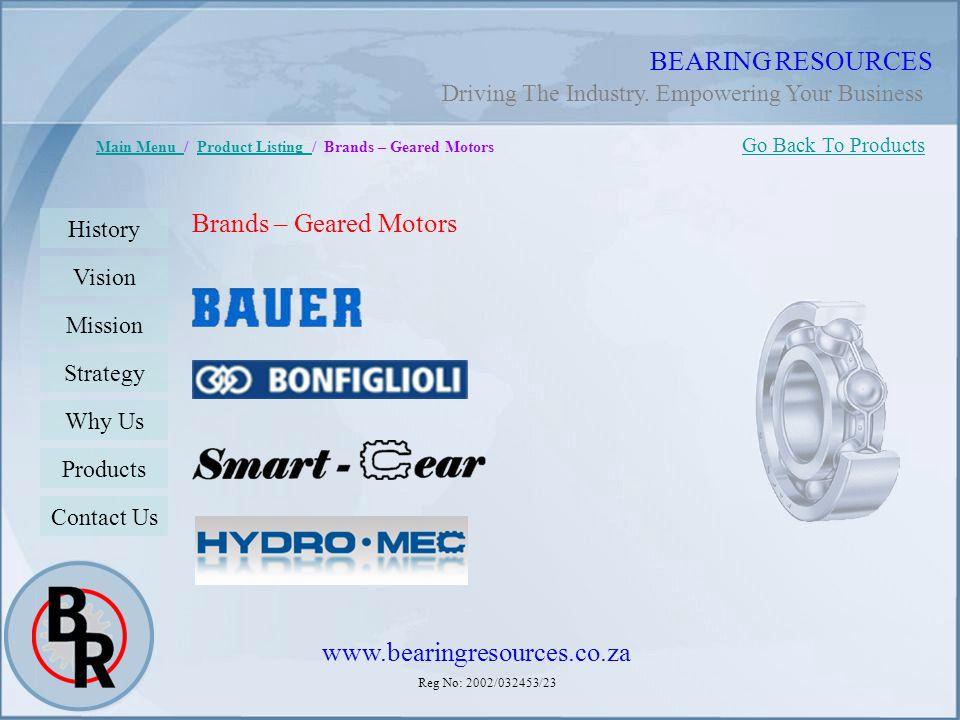 BEARING RESOURCES Brands – Geared Motors www.bearingresources.co.za