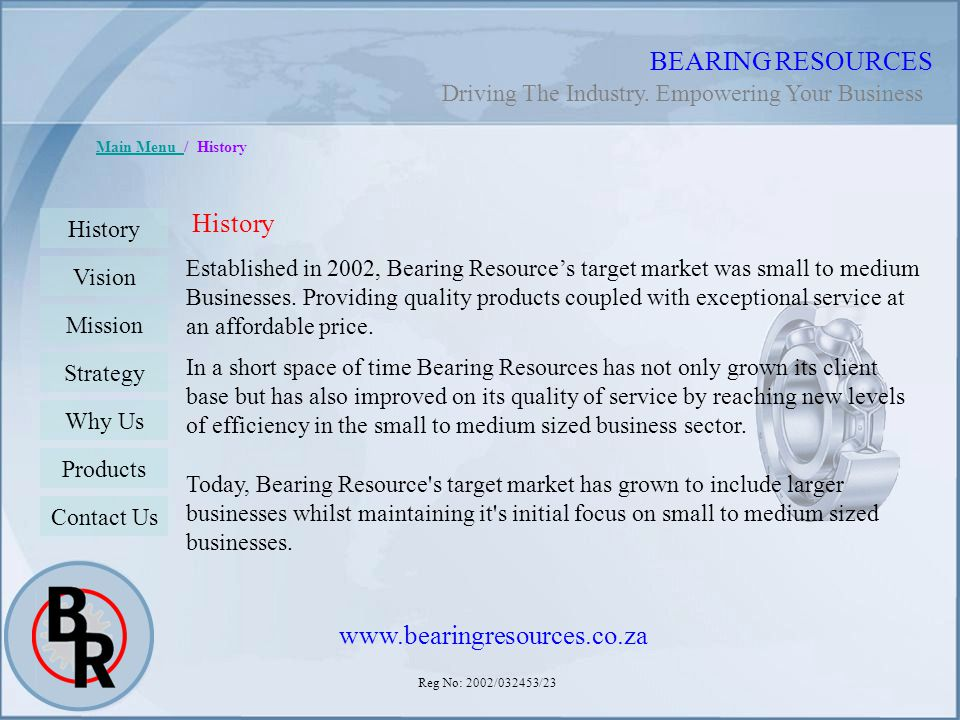 BEARING RESOURCES History www.bearingresources.co.za