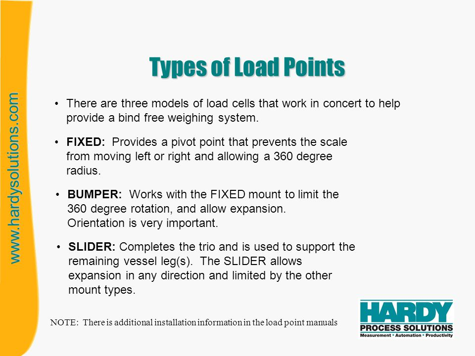 Types of Load Points There are three models of load cells that work in concert to help provide a bind free weighing system.