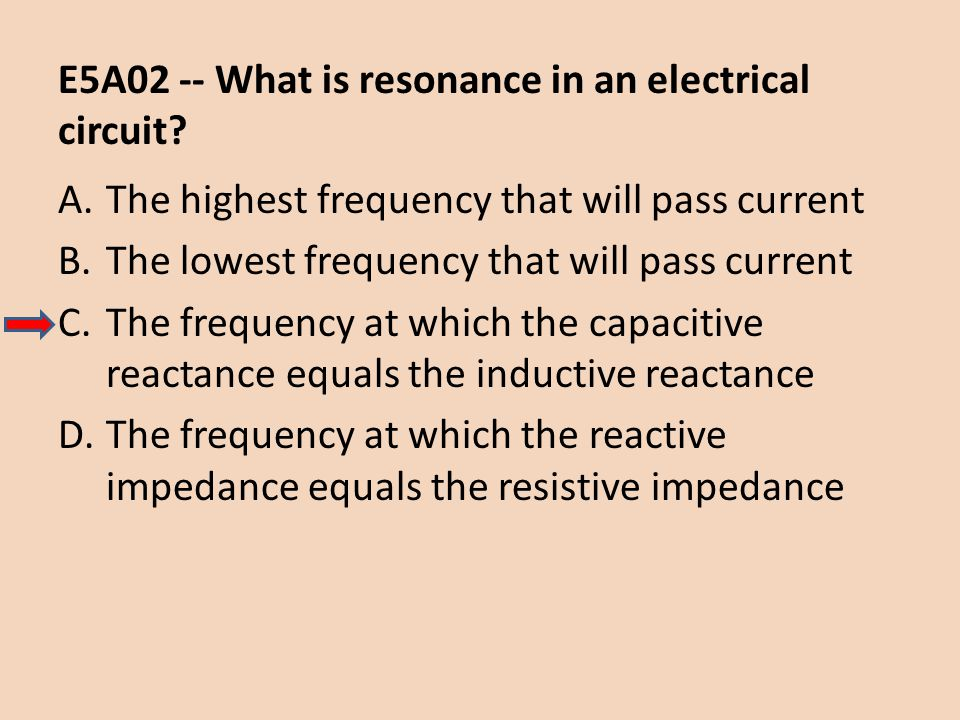 E5A02 -- What is resonance in an electrical circuit