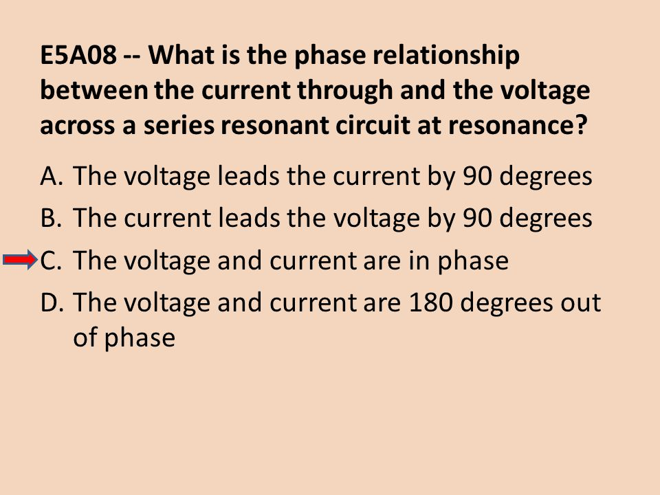 E5A08 -- What is the phase relationship between the current through and the voltage across a series resonant circuit at resonance