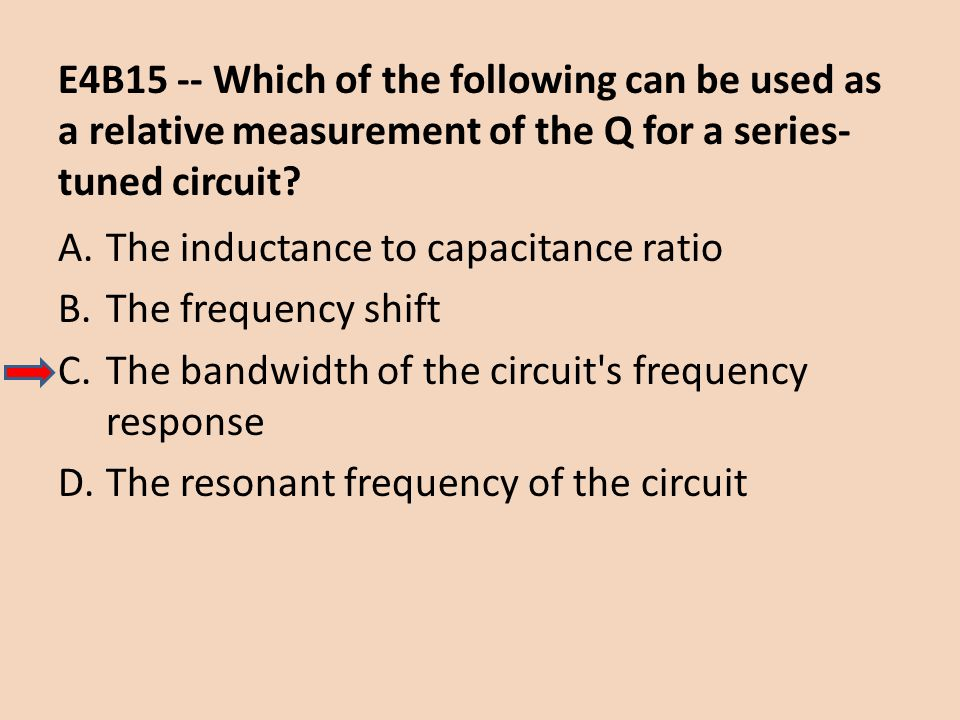 E4B15 -- Which of the following can be used as a relative measurement of the Q for a series-tuned circuit