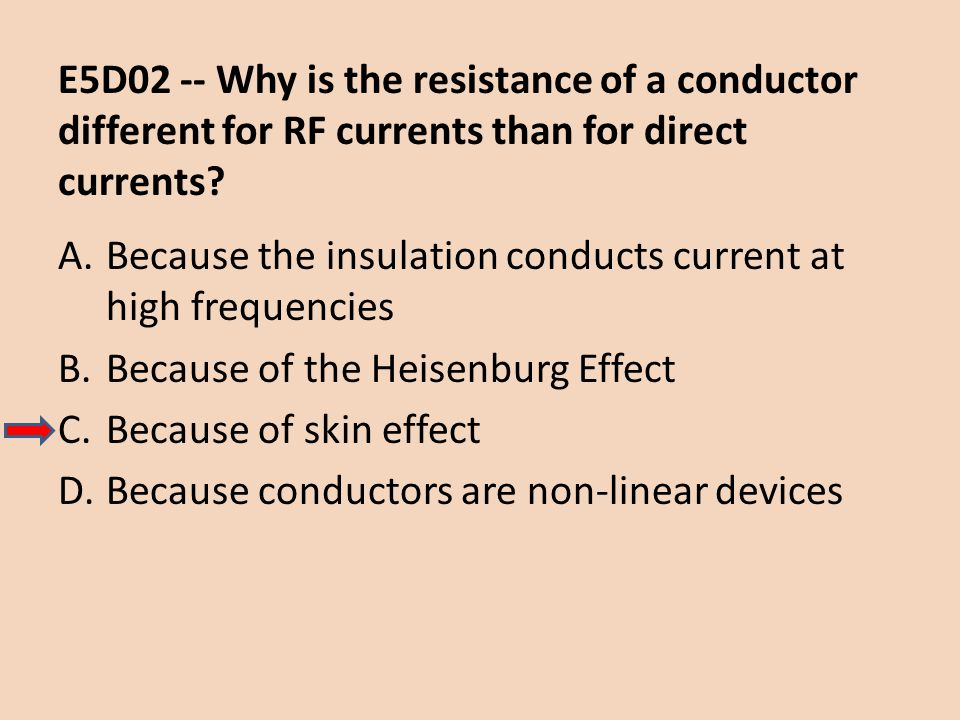 E5D02 -- Why is the resistance of a conductor different for RF currents than for direct currents