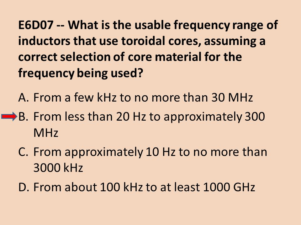 E6D07 -- What is the usable frequency range of inductors that use toroidal cores, assuming a correct selection of core material for the frequency being used