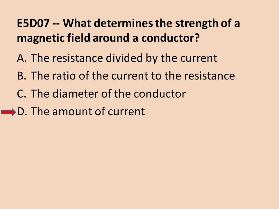 E5D07 -- What determines the strength of a magnetic field around a conductor
