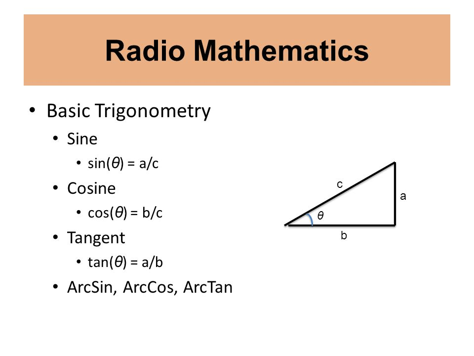 Radio Mathematics Basic Trigonometry Sine Cosine Tangent