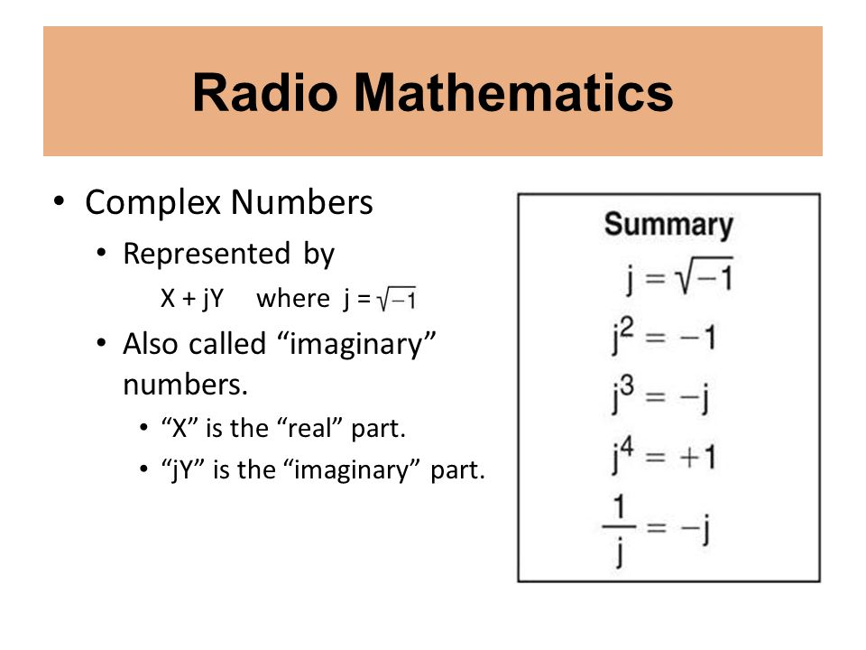 Radio Mathematics Complex Numbers Represented by