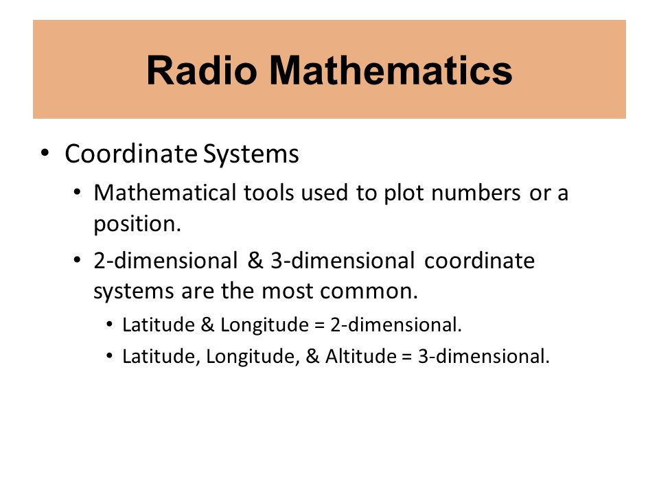 Radio Mathematics Coordinate Systems