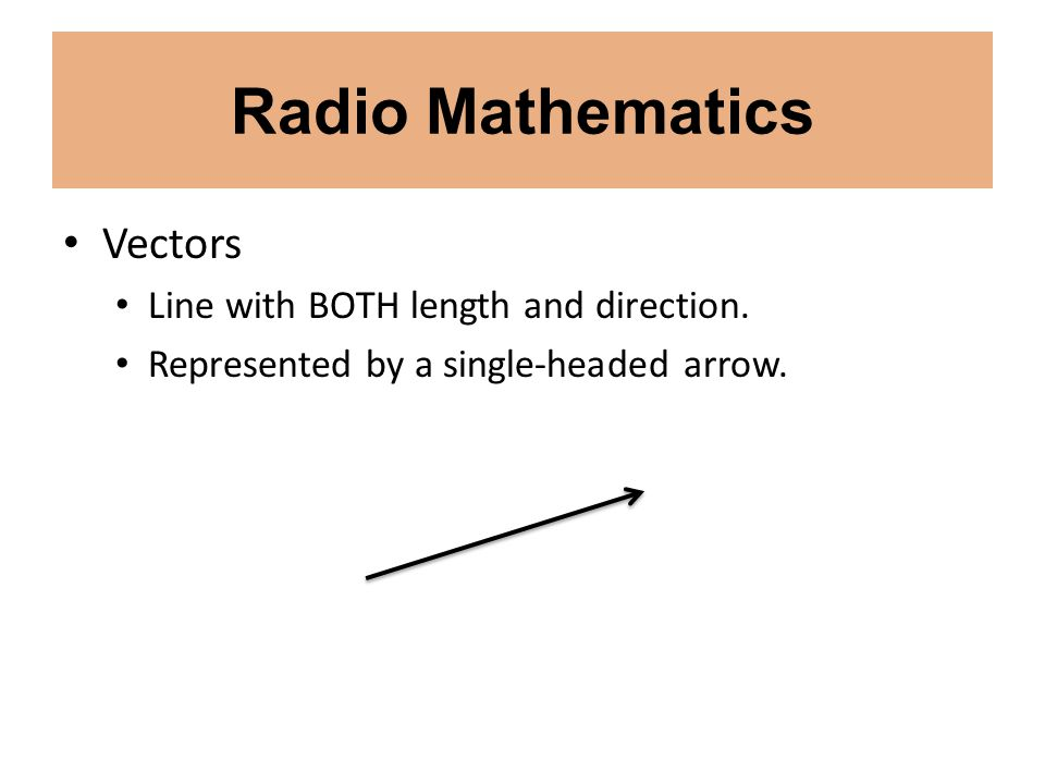 Radio Mathematics Vectors Line with BOTH length and direction.