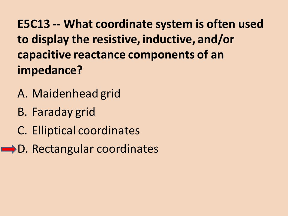 E5C13 -- What coordinate system is often used to display the resistive, inductive, and/or capacitive reactance components of an impedance