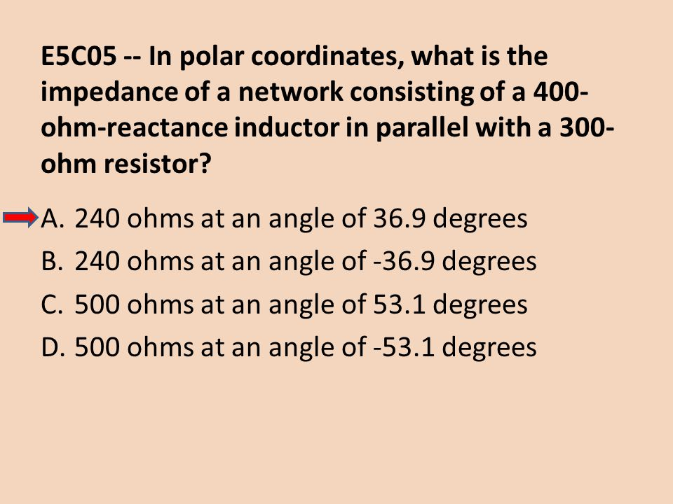 E5C05 -- In polar coordinates, what is the impedance of a network consisting of a 400-ohm-reactance inductor in parallel with a 300-ohm resistor