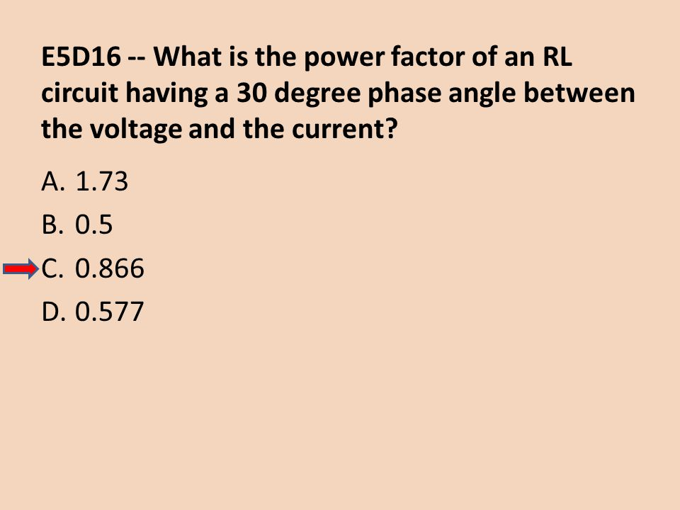 E5D16 -- What is the power factor of an RL circuit having a 30 degree phase angle between the voltage and the current