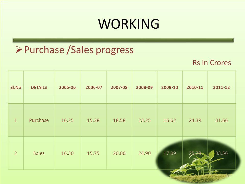 WORKING Purchase /Sales progress Rs in Crores 1 Purchase 16.25 15.38