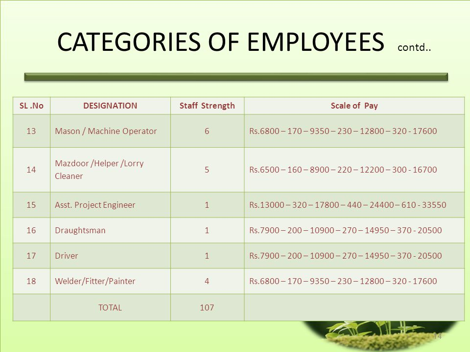CATEGORIES OF EMPLOYEES contd..