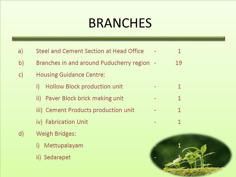 BRANCHES b) Branches in and around Puducherry region - 19