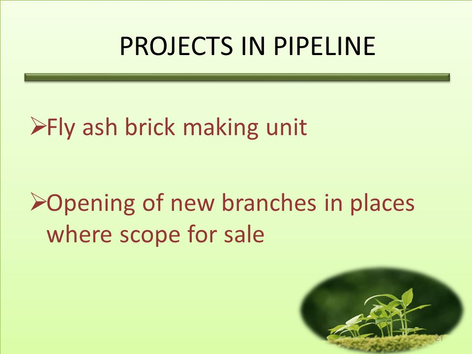 PROJECTS IN PIPELINE Fly ash brick making unit