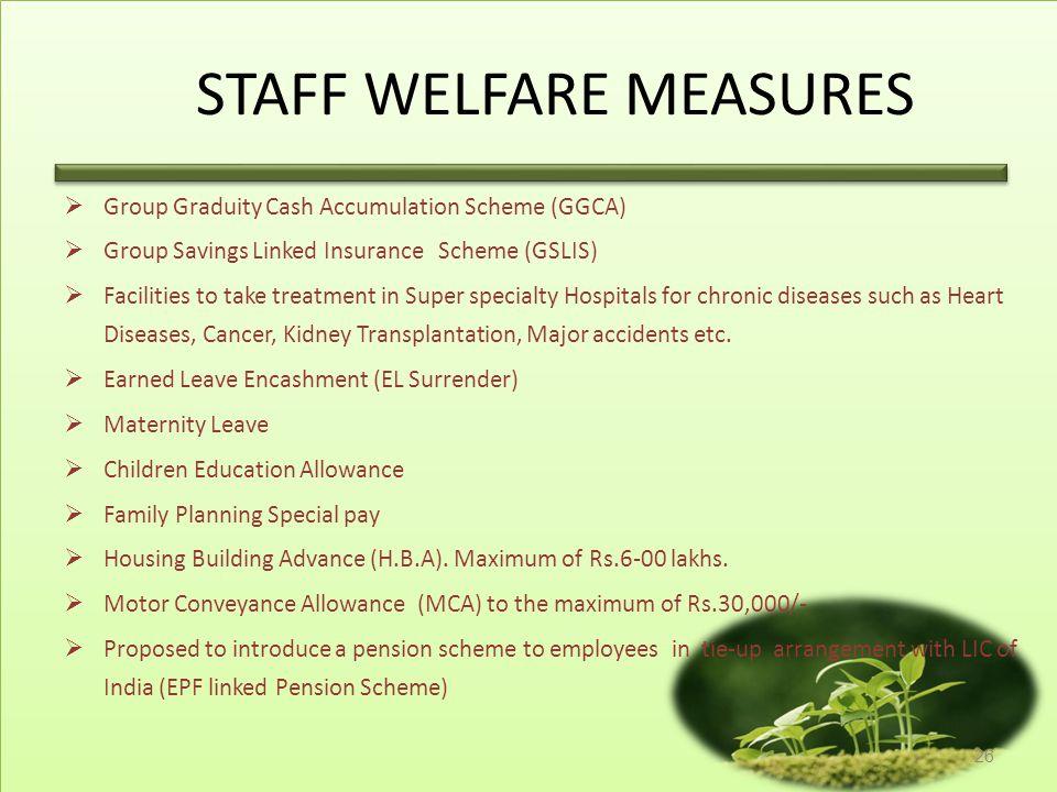 STAFF WELFARE MEASURES