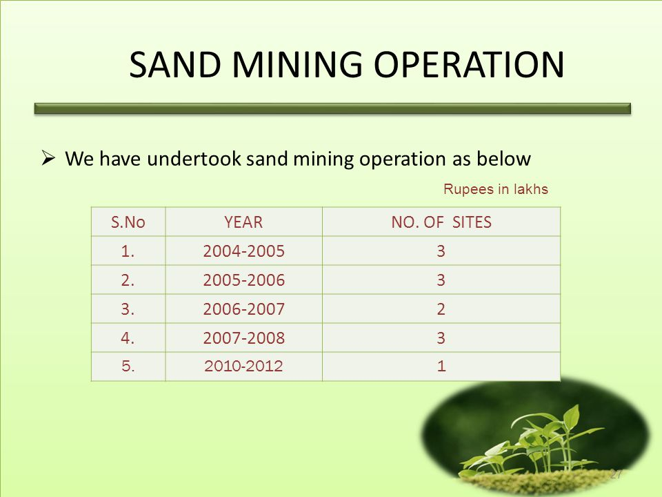 SAND MINING OPERATION We have undertook sand mining operation as below