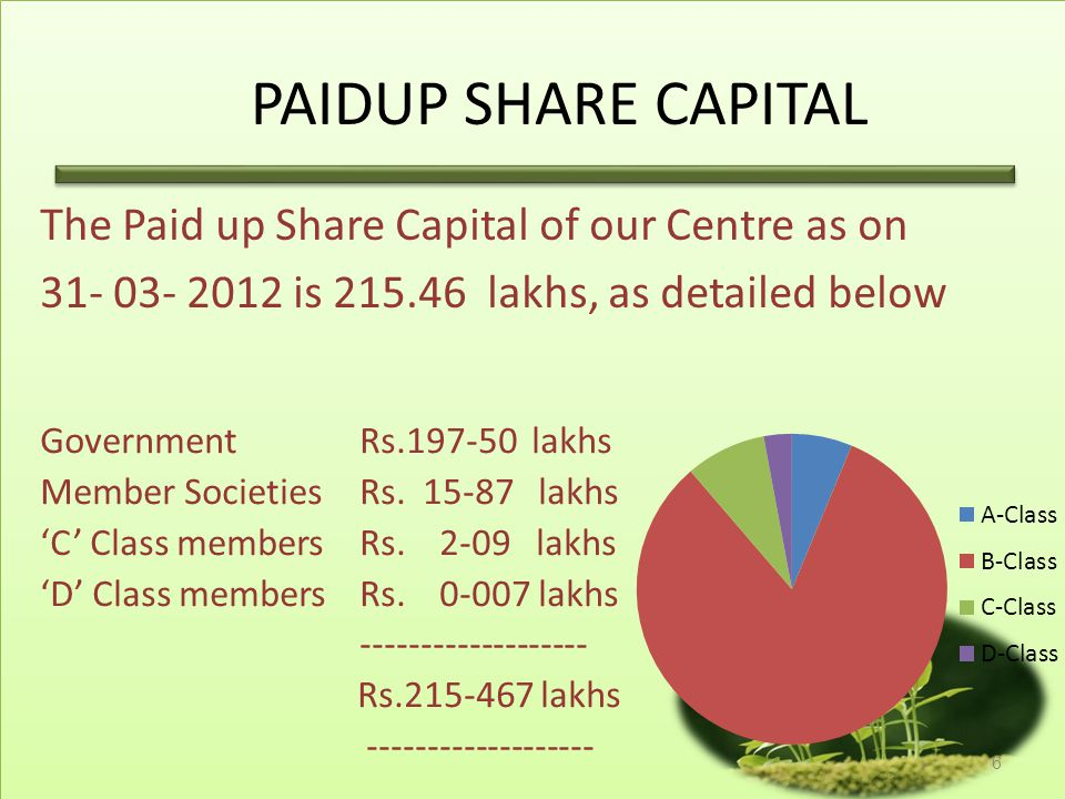 PAIDUP SHARE CAPITAL The Paid up Share Capital of our Centre as on
