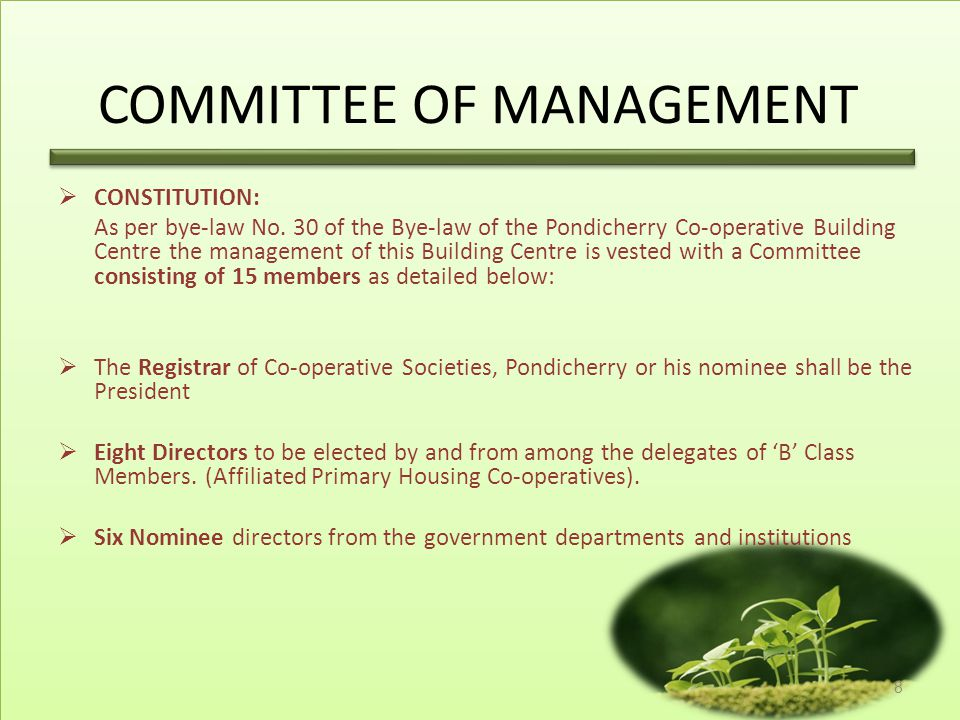 COMMITTEE OF MANAGEMENT