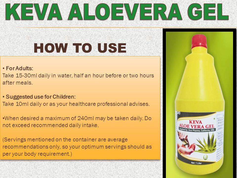 How to use KEVA ALOEVERA GEL For Adults: