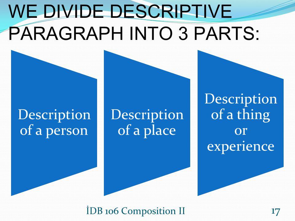 WE DIVIDE DESCRIPTIVE PARAGRAPH INTO 3 PARTS: