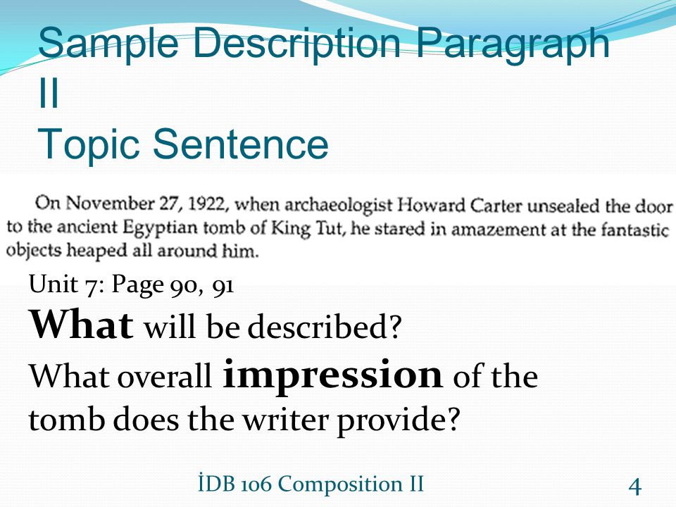 Sample Description Paragraph II Topic Sentence