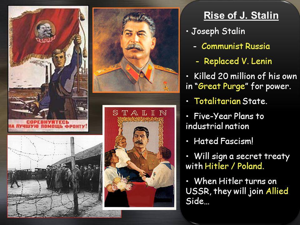 Rise of J. Stalin Joseph Stalin - Communist Russia - Replaced V. Lenin