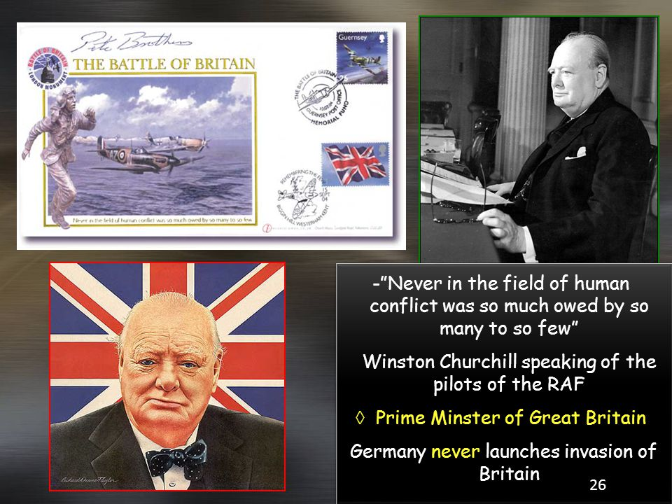 Winston Churchill speaking of the pilots of the RAF