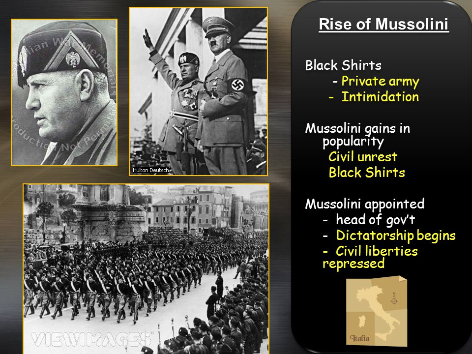 Rise of Mussolini Black Shirts - Private army - Intimidation