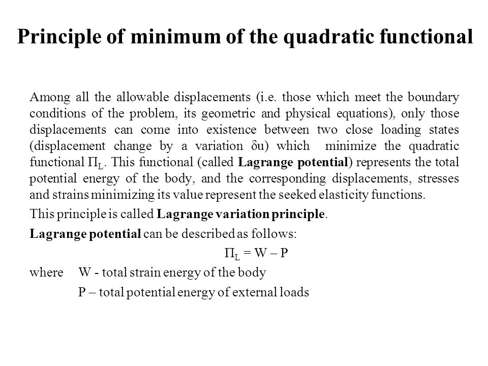 Principle of minimum of the quadratic functional