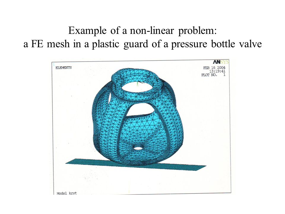 Example of a non-linear problem: a FE mesh in a plastic guard of a pressure bottle valve