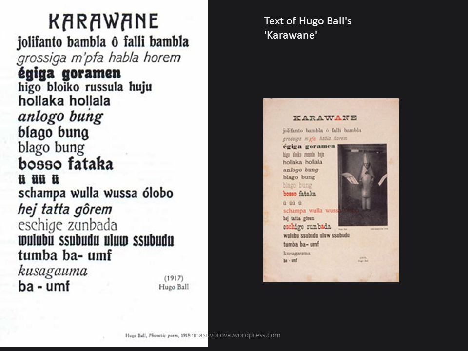 Text of Hugo Ball s Karawane