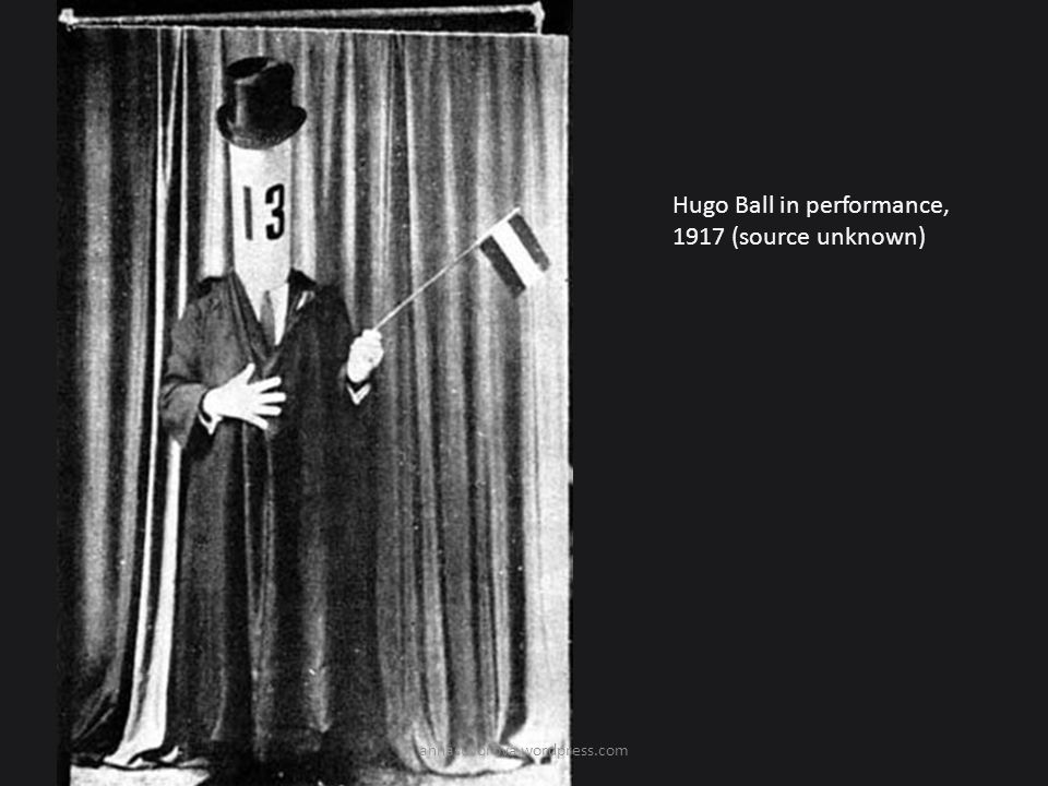 Hugo Ball in performance, 1917 (source unknown)