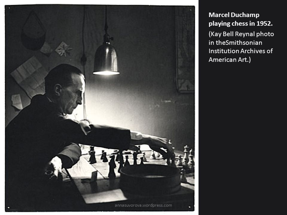 Marcel Duchamp playing chess in 1952