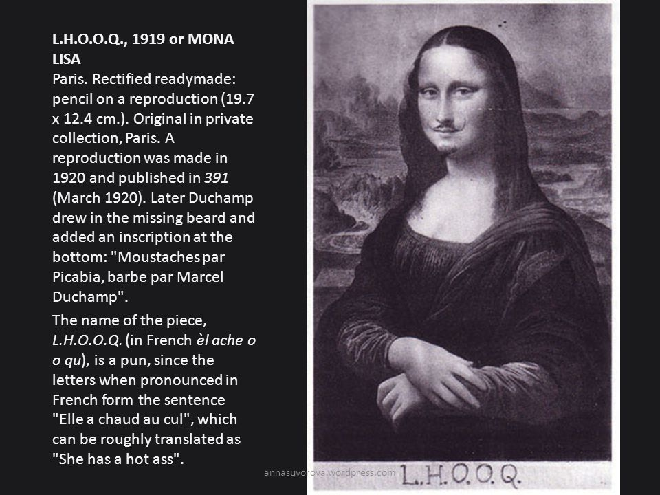 L. H. O. O. Q. , 1919 or MONA LISA Paris