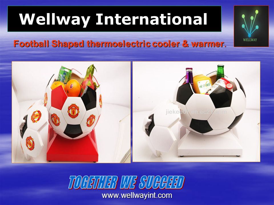 Football Shaped thermoelectric cooler & warmer.