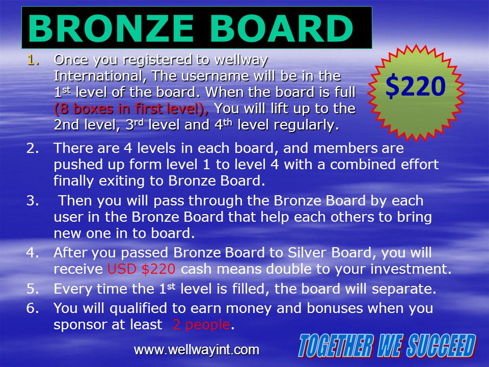 BRONZE BOARD $220 TOGETHER WE SUCCEED
