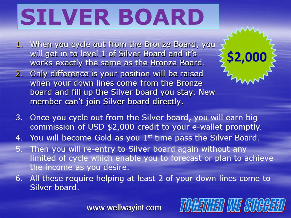 SILVER BOARD $2,000 TOGETHER WE SUCCEED www.wellwayint.com