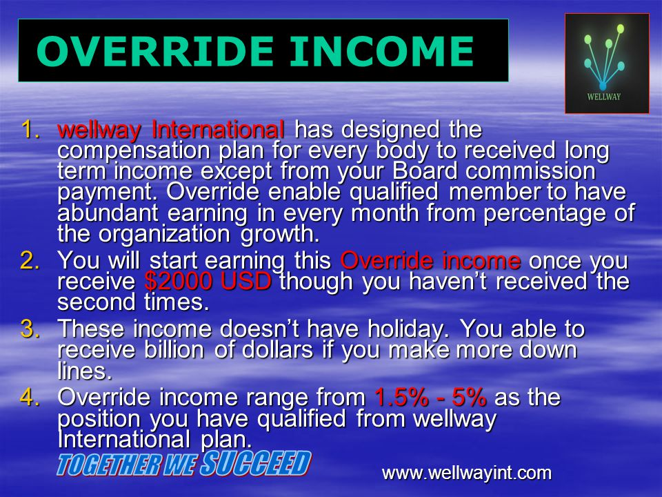 OVERRIDE INCOME TOGETHER WE SUCCEED