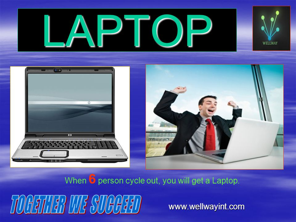 When 6 person cycle out, you will get a Laptop.