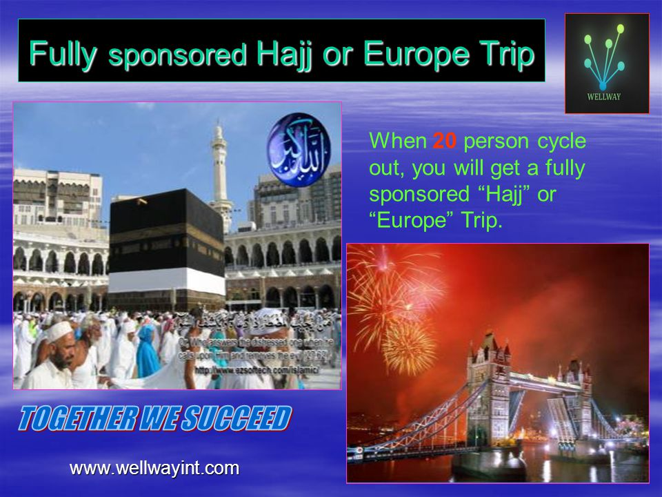 Fully sponsored Hajj or Europe Trip