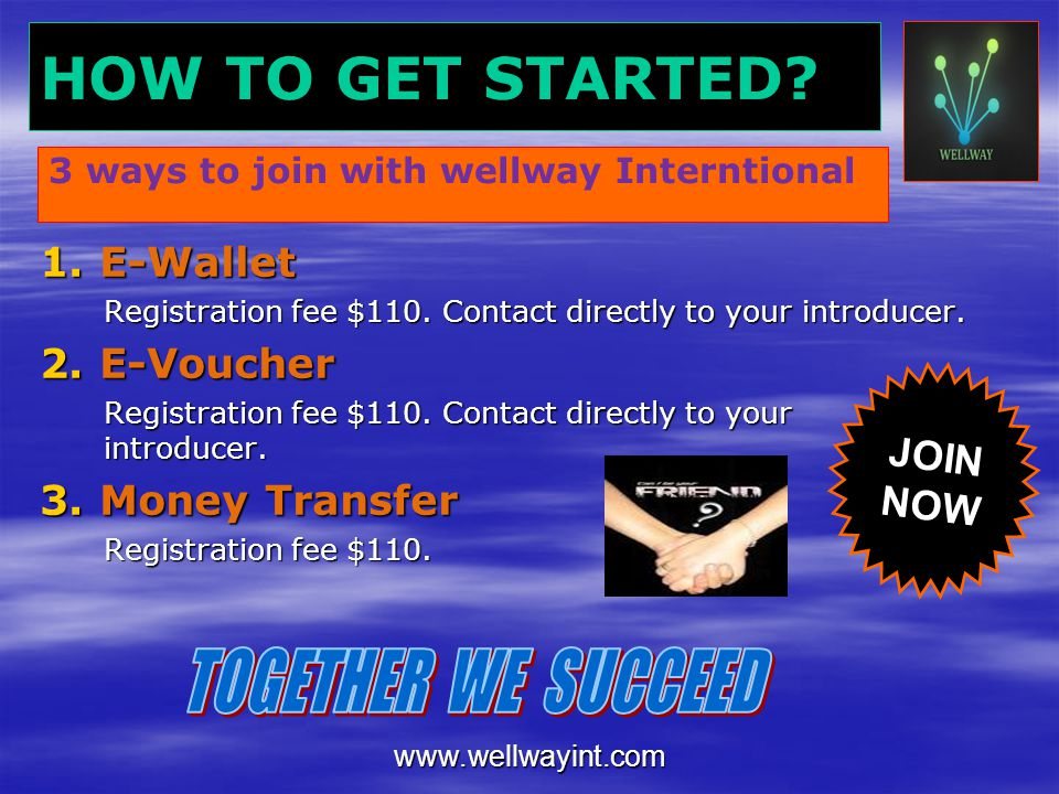 HOW TO GET STARTED TOGETHER WE SUCCEED E-Wallet E-Voucher