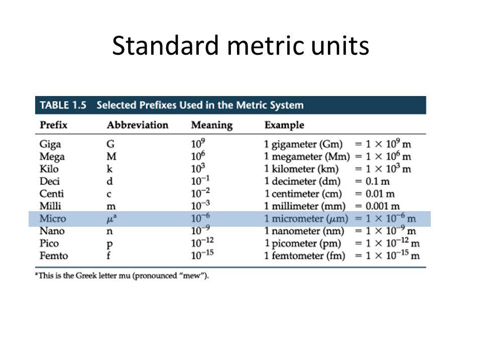 Standard metric units