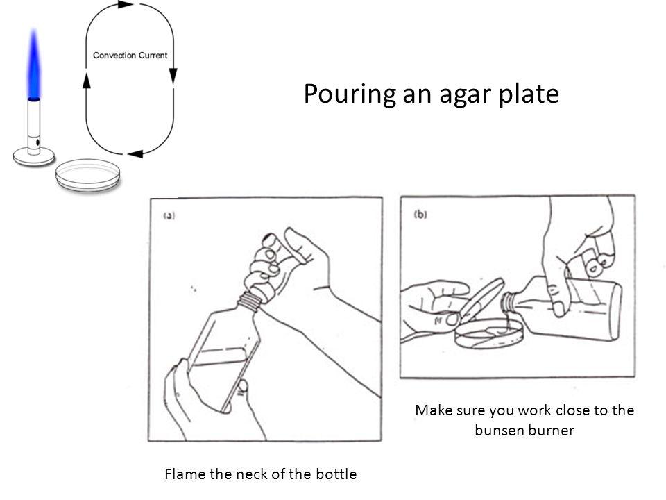 Make sure you work close to the bunsen burner