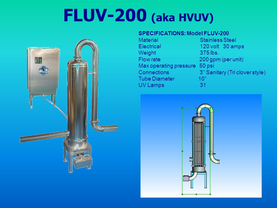 FLUV-200 (aka HVUV) SPECIFICATIONS: Model FLUV-200
