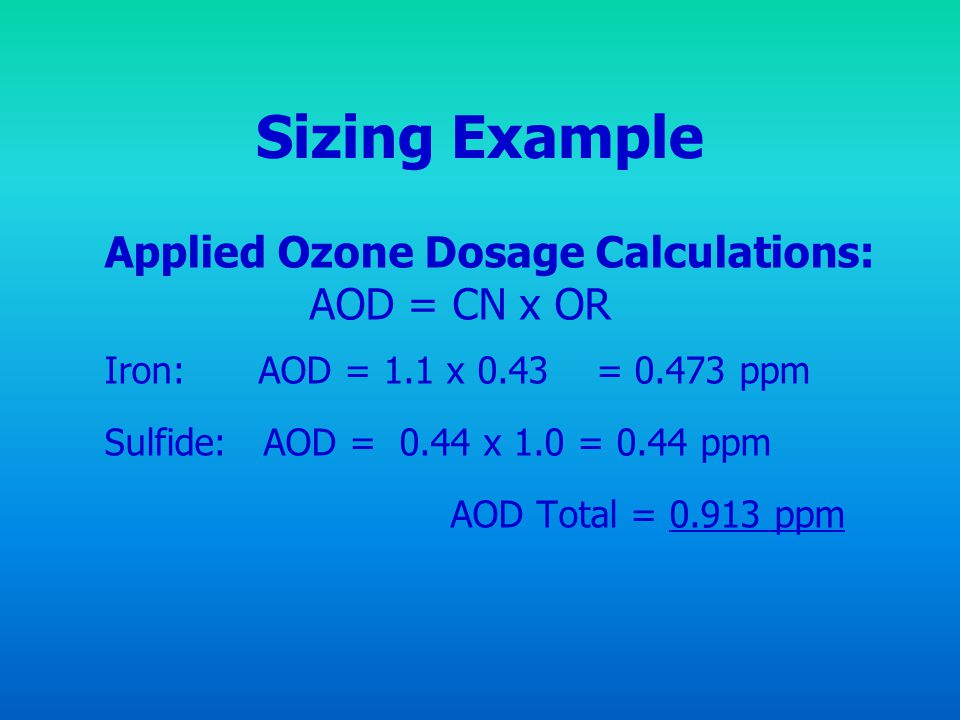 Sizing Example Applied Ozone Dosage Calculations: AOD = CN x OR