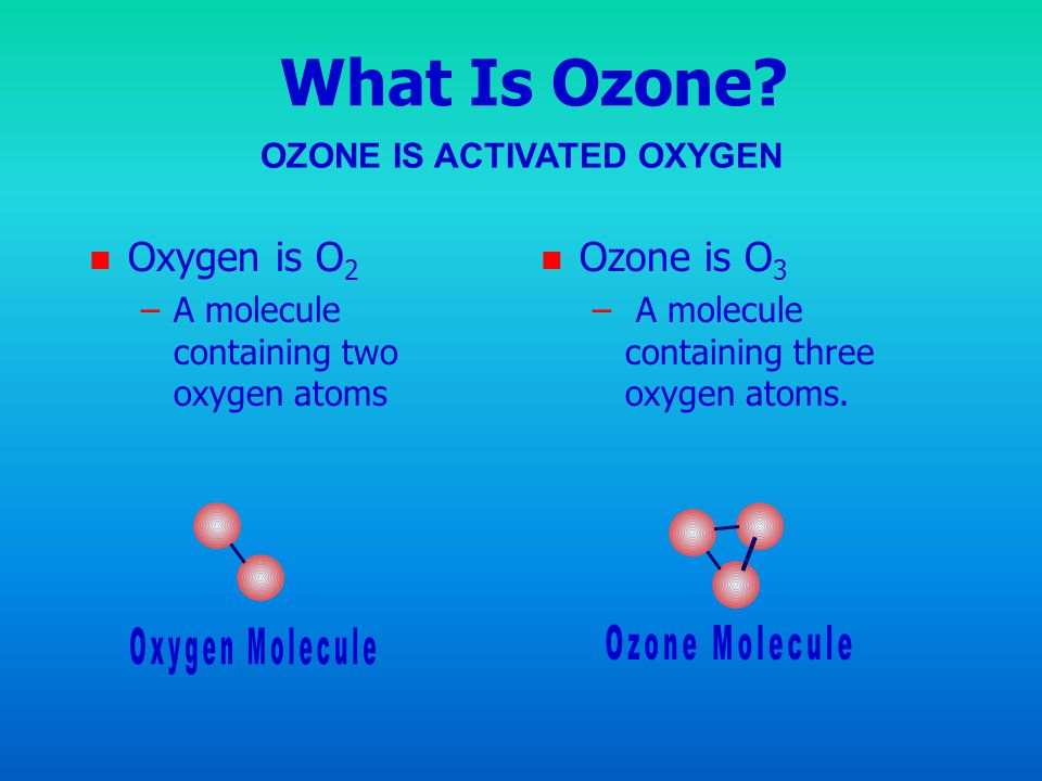 OZONE IS ACTIVATED OXYGEN