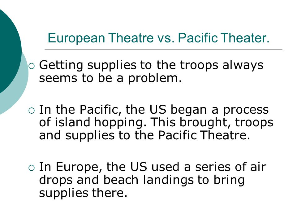 European Theatre vs. Pacific Theater.